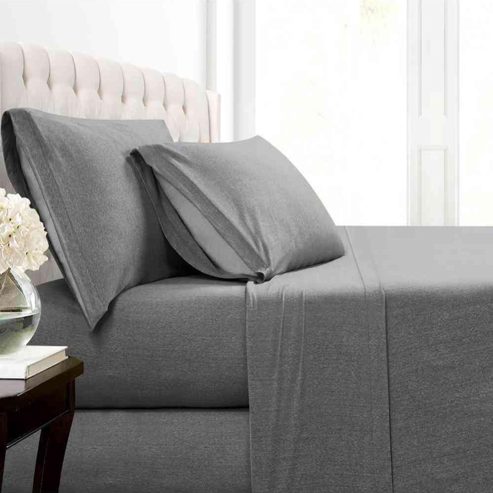 MHF Home Cotton Blend Charcoal Jersey King Sheet Set