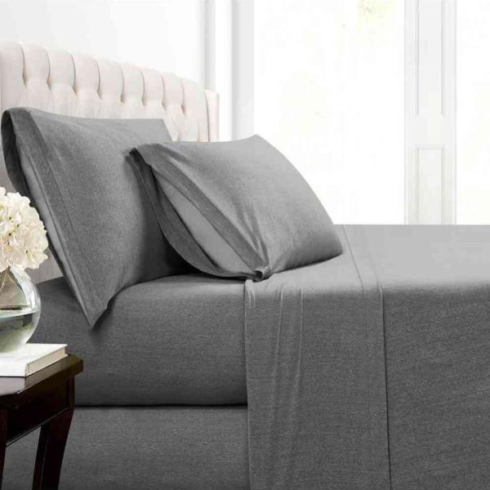 Morgan Home Mhf Cotton Blend Charcoal Jersey King Sheet Set