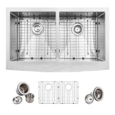 Farmhouse Apron Front Stainless Steel 33 in. Double Bowl 50/50 Kitchen Sink Kit in Satin