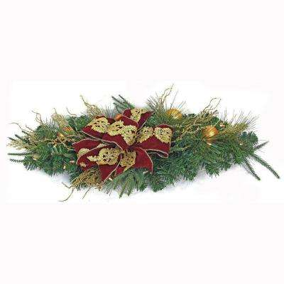 36 in. LED Pre-Lit Valenzia Artificial Centerpiece Swag with Red and Gold Ribbon, 35 Battery-Operated Warm-White Lights