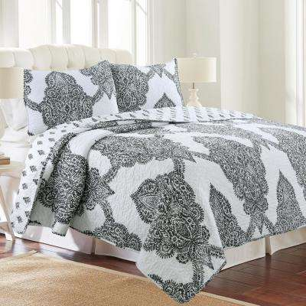 Batik Ultra-Soft Grey Microfiber King Quilt Set