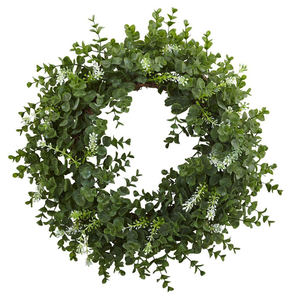 Nearly Natural 18 in. Eucalyptus Double Ring Wreath with Twig Base