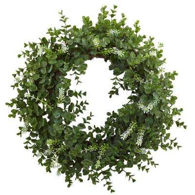 18 in. Eucalyptus Double Ring Wreath with Twig Base