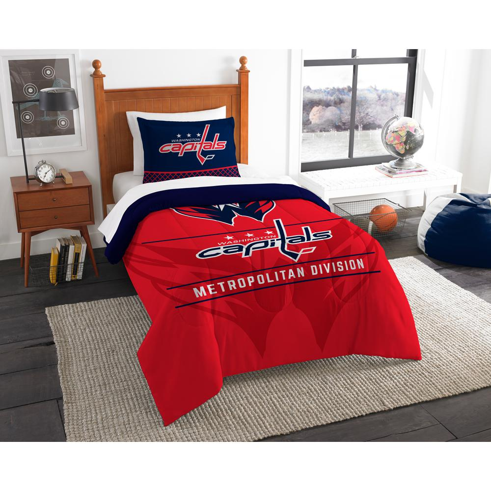 Capitals Draft 2-Piece Multi-Color Polyester Twin Comforter Set