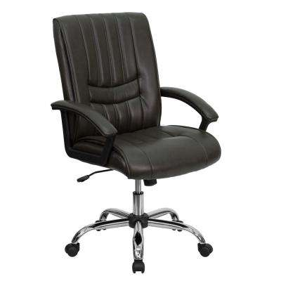 Mid-Back Espresso Brown Leather Swivel Manager's Chair