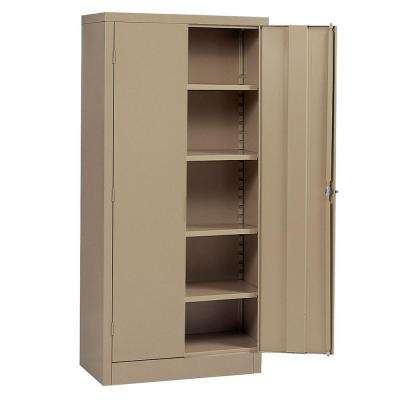 72 in. H x 36 in.W x 24 in. D 5-Shelf Steel Freestanding Storage Cabinet in Tan