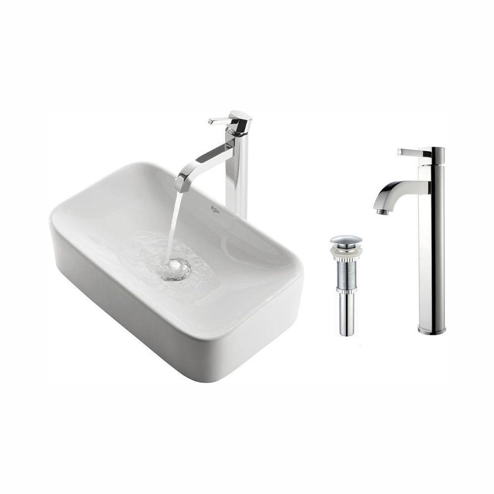 Kraus Soft Rectangular Ceramic Vessel Sink In White With
