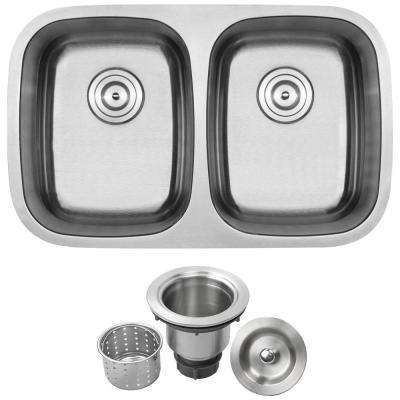Foster Undermount 18-Gauge Stainless Steel 29.25 in. Double Bowl Kitchen Sink with Basket Strainer
