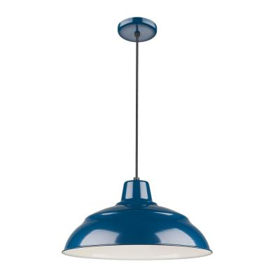 18 in. 1-Light Navy Blue Warehouse/Cord Hung
