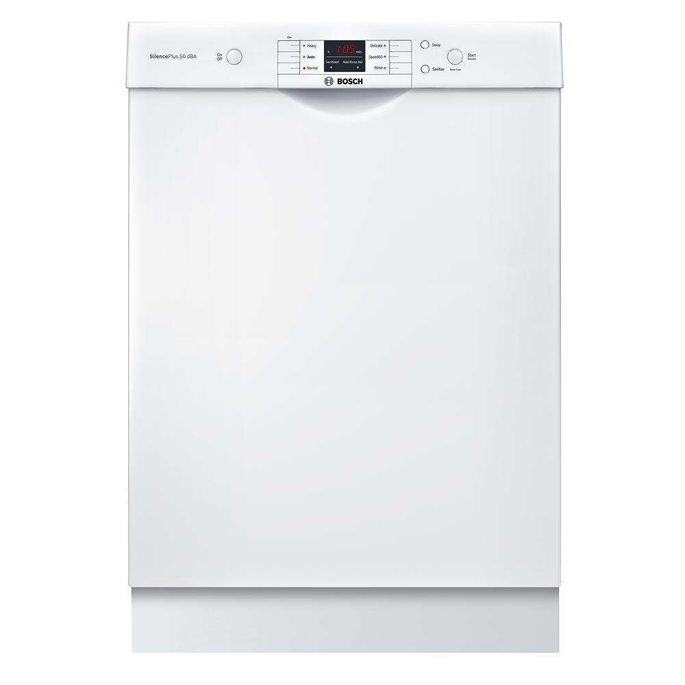 Bosch 100 Series Front Control Tall Tub Dishwasher in White with Hybrid  Stainless Steel Tub and Utility Rack, 50dBA