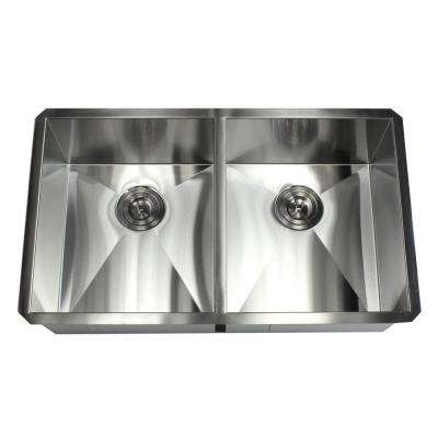 Undermount Stainless Steel 32 in. x 19 in. x 10 in. Deep 16-Gauge 50/50 Double Bowl Zero Radius Kitchen Sink