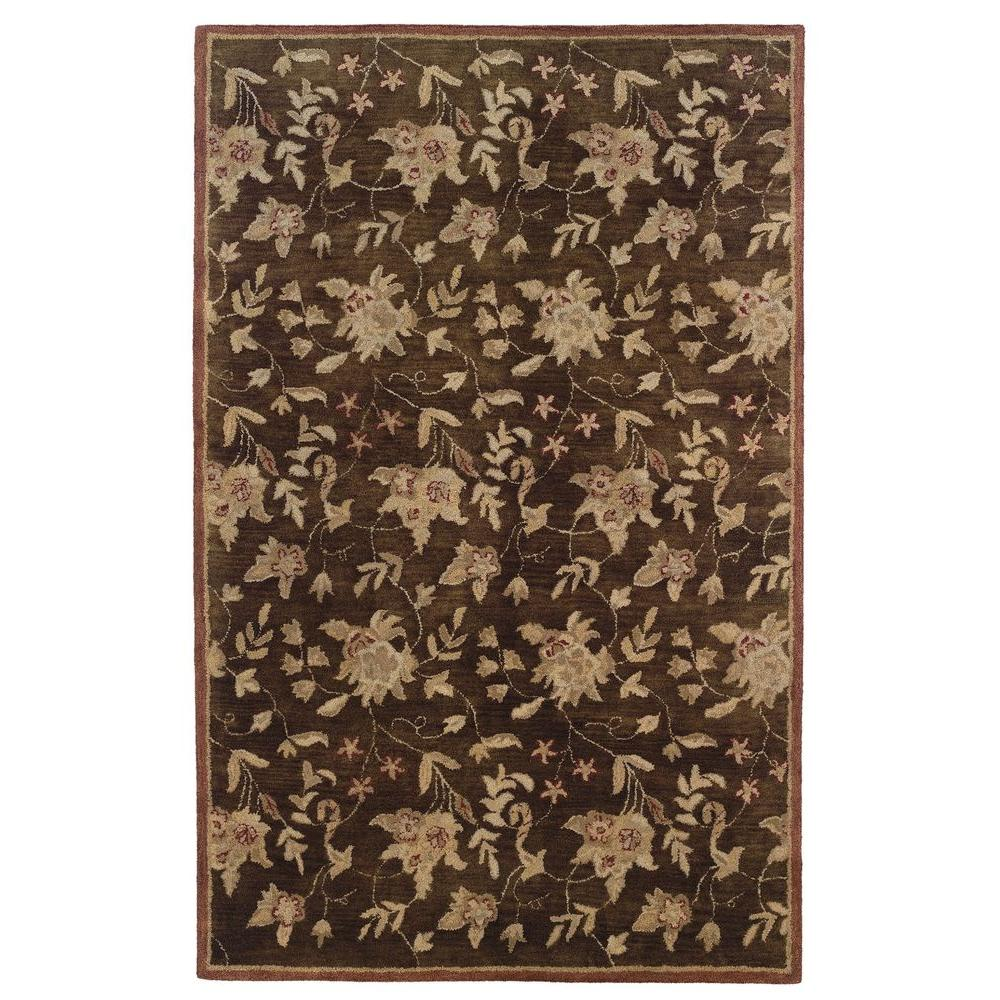 Linon home decor ashton collection chocolate and brick 5 for Home accents rug collection