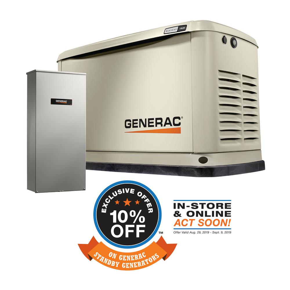 Generac 11000-Watt (LP)/10000-Watt (NG) Air-Cooled Standby Generator with  Wi-Fi and Whole House 200 Amp Transfer Switch