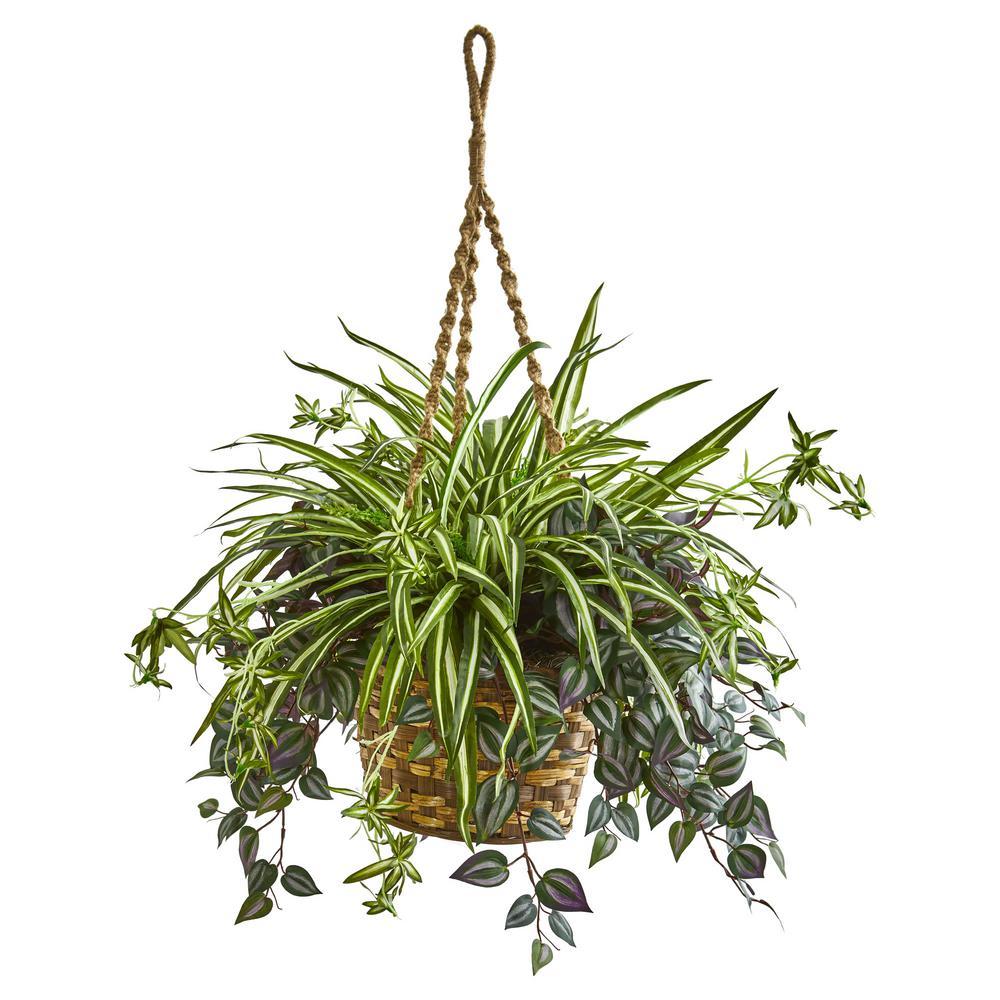 30 in. Indoor Wandering Jew and Spider Artificial Plant in Hanging Basket