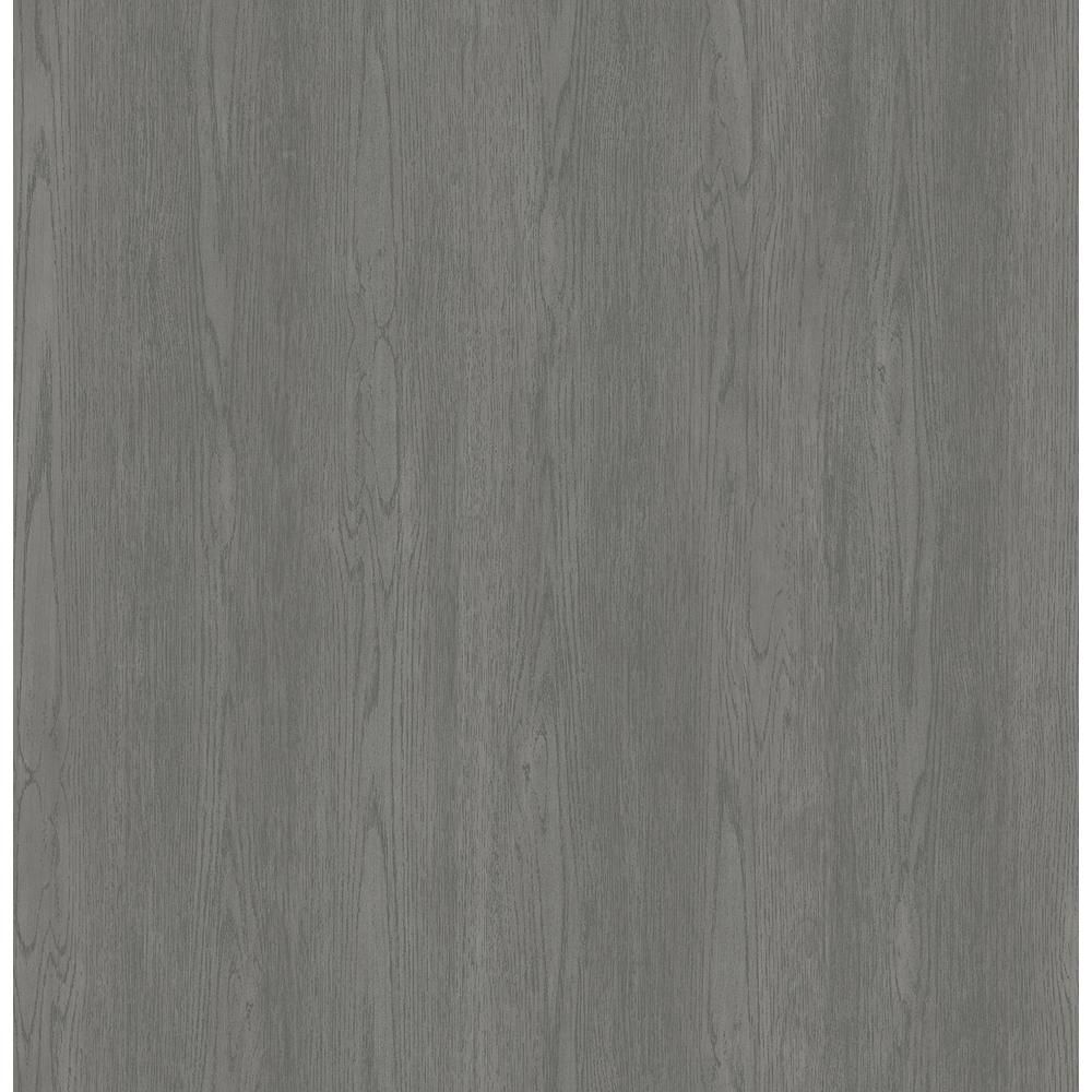 Brewster Brest Charcoal Wood Texture Wallpaper Sample 2734