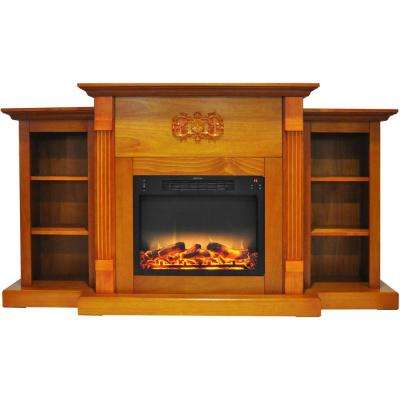 Classic 72 in. Electric Fireplace in Teak with Built-in Bookshelves and an Enhanced Log Display