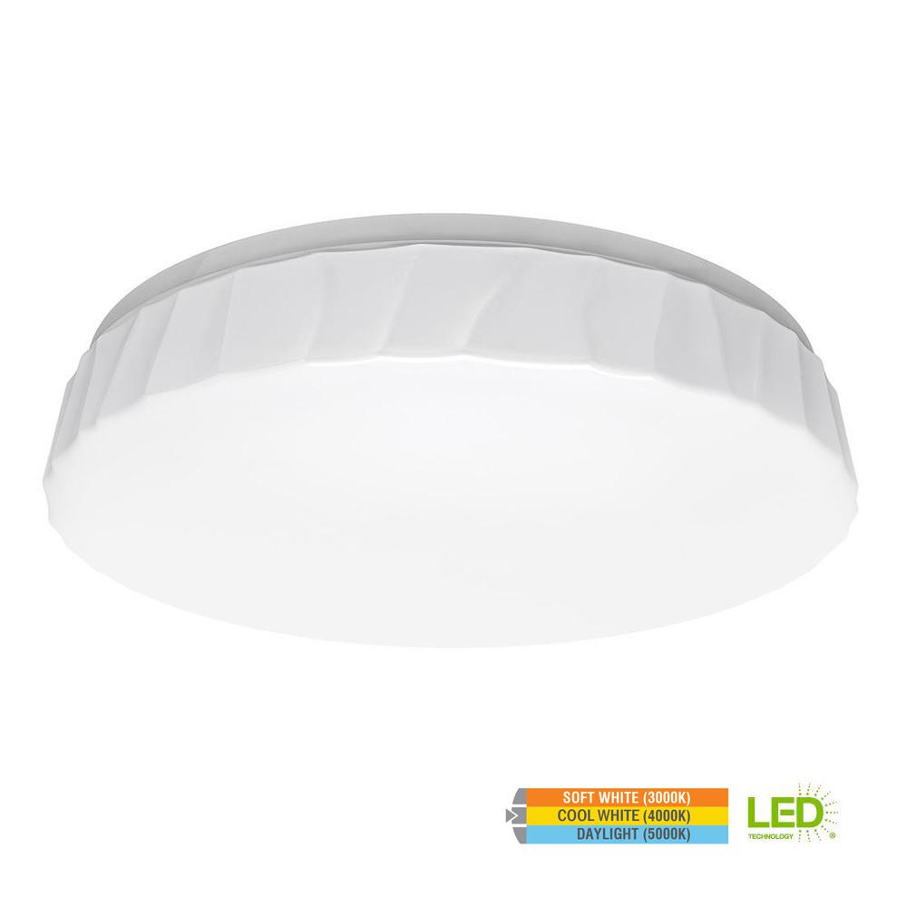 Cliff Puff Style15 in. Round White 100 Watt Equivalent Integrated LED