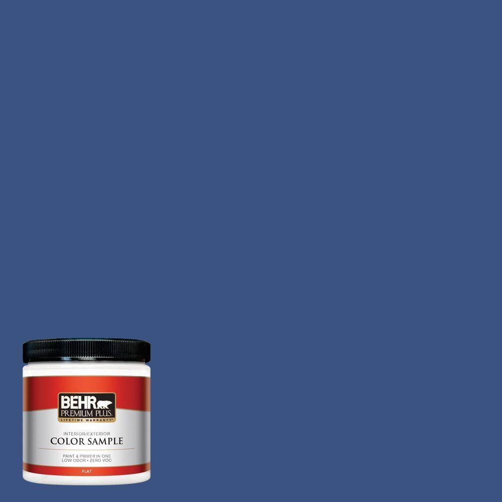 BEHR Premium Plus 8 oz. #S-G-600 Deep Azure Flat Interior/Exterior Paint and Primer in One Sample