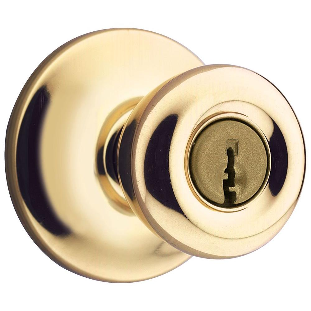 Kwikset Mobile Home Polished Brass Entry Door Knob 400m 3 Cp The Home Depot