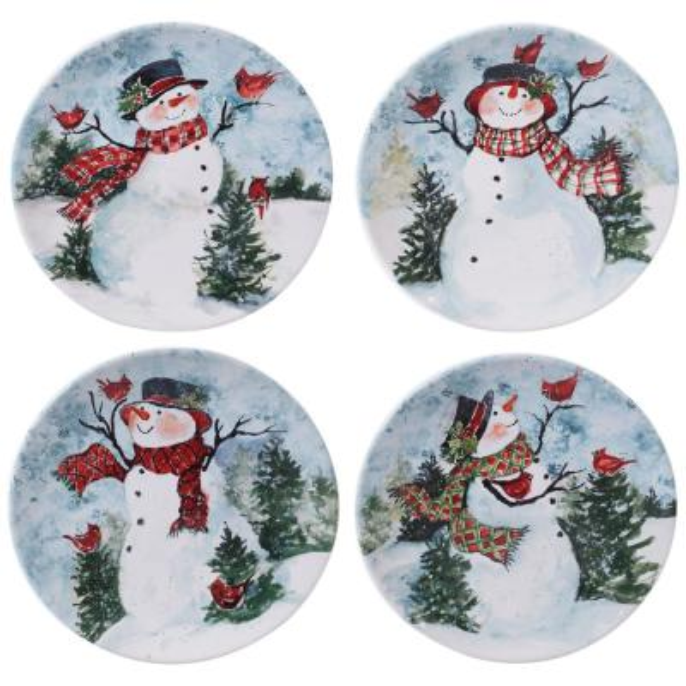 Watercolor Snowman 4-Piece Multi-Colored 11 in. Earthenware Dinner Plate Set