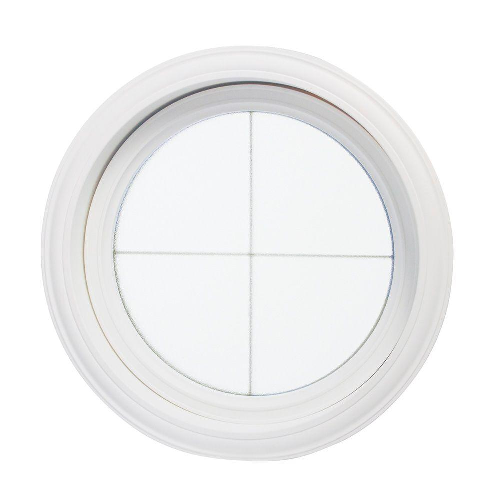 TAFCO WINDOWS 24.5 in. x 24.5 in. Obscure Glass Round Picture Vinyl Window with Platinum Cross Design, White