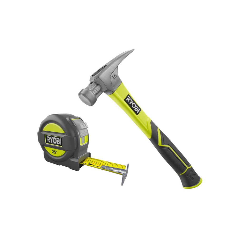 RYOBI 16 oz. All Purpose Hammer with 11 in. Fiberglass Handle and 25 ft. Tape Measure, Overmold and Wireform Belt Clip