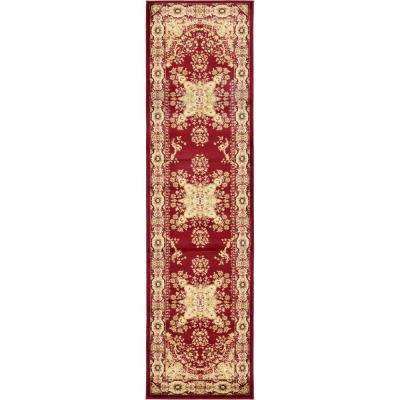 Versailles Louis Red 2' 7 x 10' 0 Runner Rug