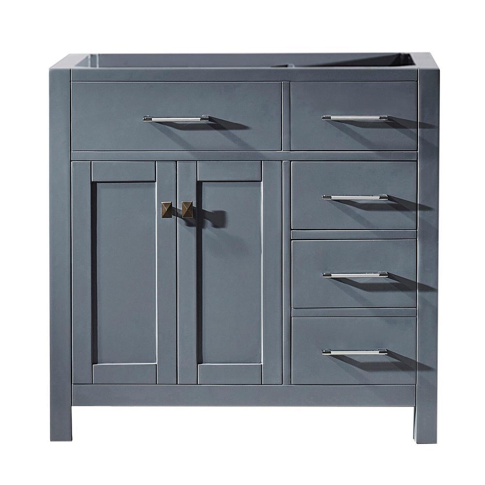 Caroline Parkway 36 in. W x 21 in. D Vanity Cabinet Only in Grey