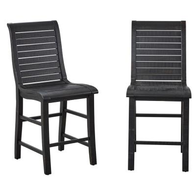 Willow Distressed Black Counter Chairs (2-Count)