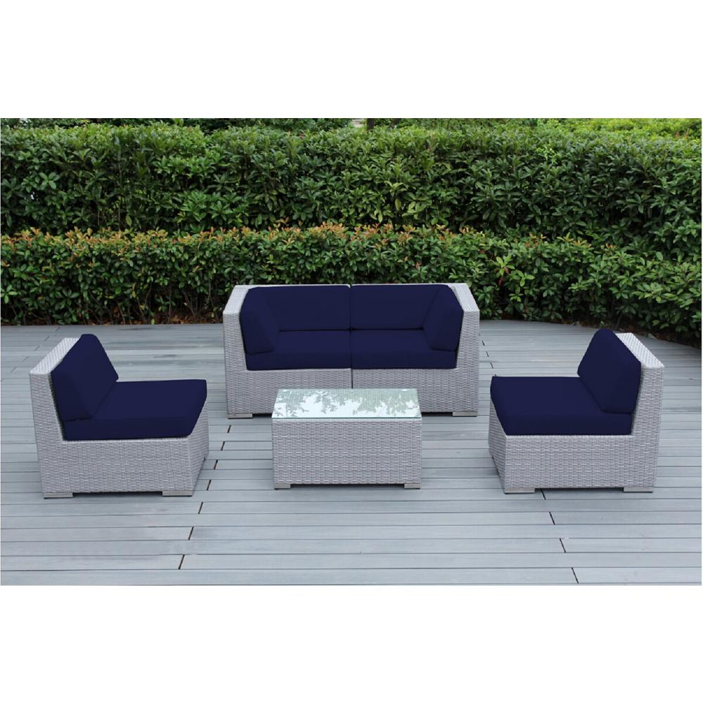Gray 5 piece wicker patio seating set with sunbrella navy cushions write a review