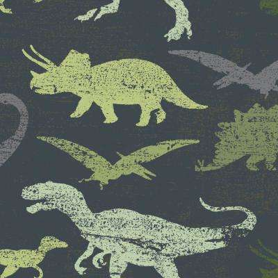 Kids Dinosaurs Navy and Green Multi Self-Adhesive Removable Borders and Stripes