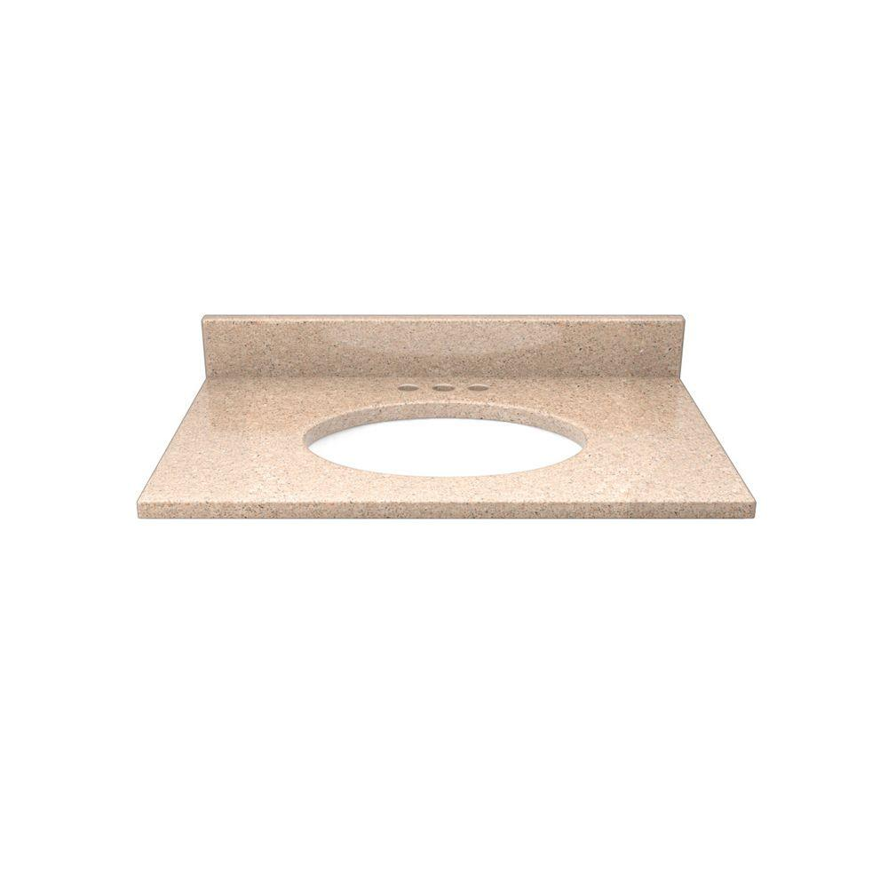Solieque 25 in. Quartz Vanity Top in Ginger Sky with White Basin