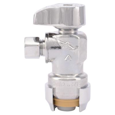 1/2 in. Push-to-Connect x 1/4 in. O.D. Compression Chrome-Plated Brass Quarter-Turn Angle Stop Valve