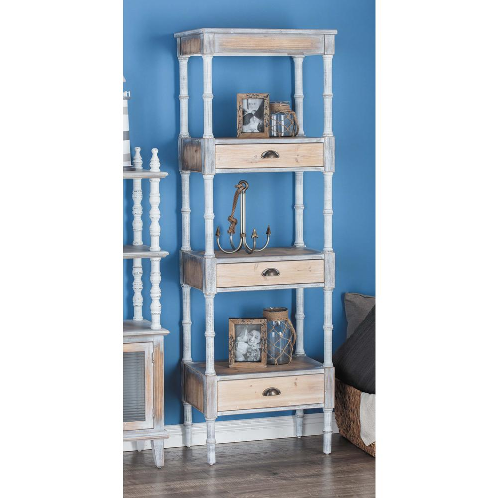 Litton Lane 72 in. H x 23 in. W 4-Tiered White Wooden Shelf with ...