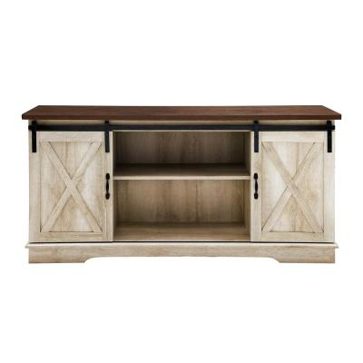 58 in. White Oak Composite TV Stand 69 in. with Doors