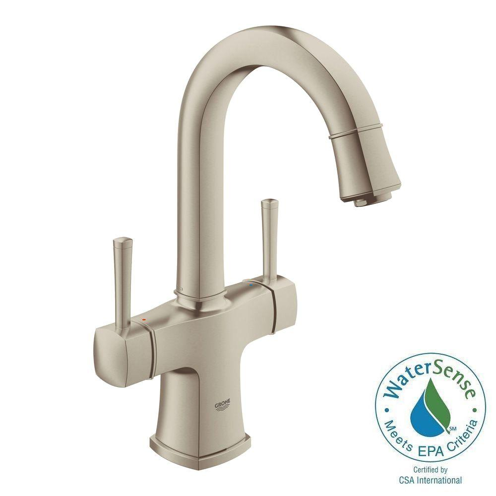 Grandera Deck-Mount 4 in. Centerset 2-Handle High Arc Bathroom Faucet in