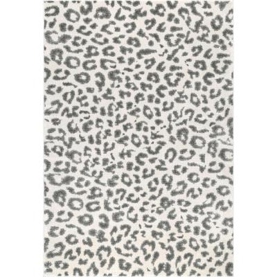 Leopard Print Gray 10 ft. x 13 ft. Area Rug