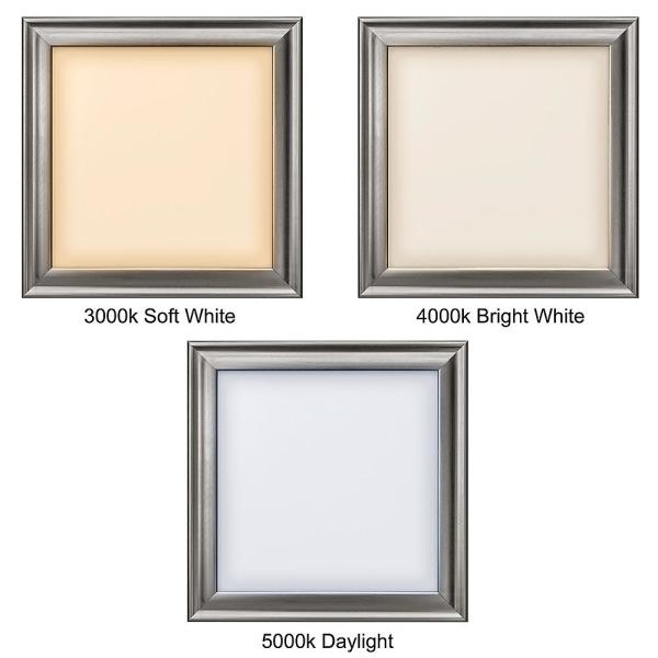 Hampton Bay 13 In X 13 In Square Brushed Nickel Led Flush Mount Ceiling Light Flat Panel 850 Lumens 3000k 4000k 5000k Dimmable 54323111 The Home Depot