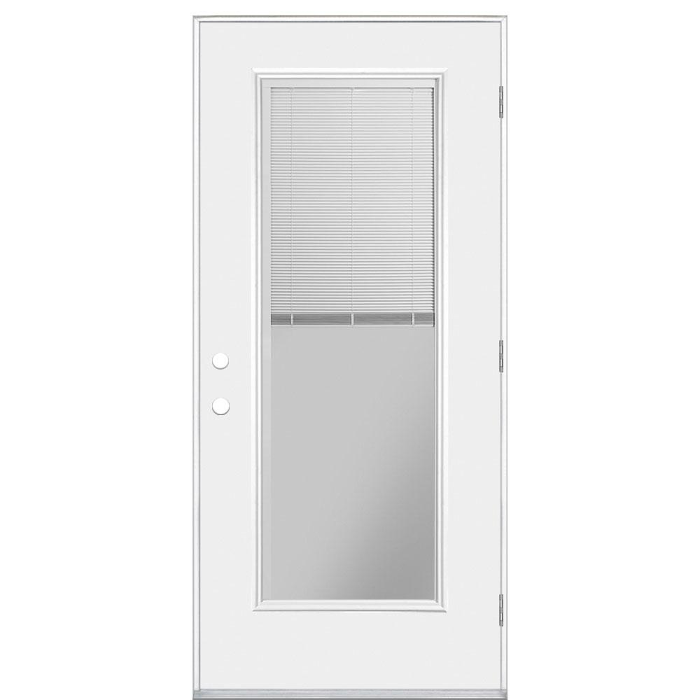 Masonite 30 In X 80 In Full Lite Miniblind Primed Right Hand Outswing Steel Prehung Front Door