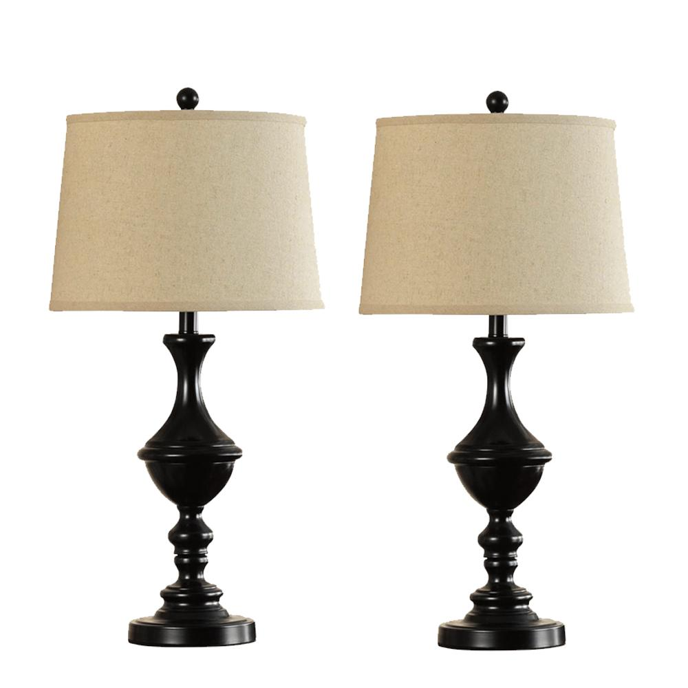 28 in bronze trophy style table lamp with shade set of two 18658 002 the home depot