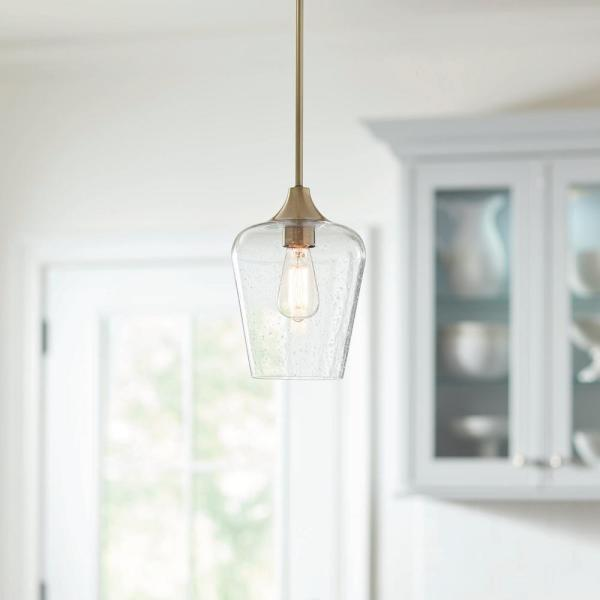 1-Light Antique Brass Seeded Glass Pendant