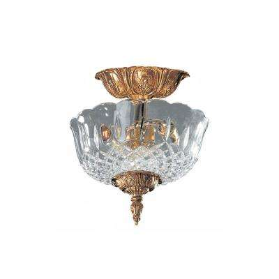 2-Light Olde Brass Semi-Flush Mount