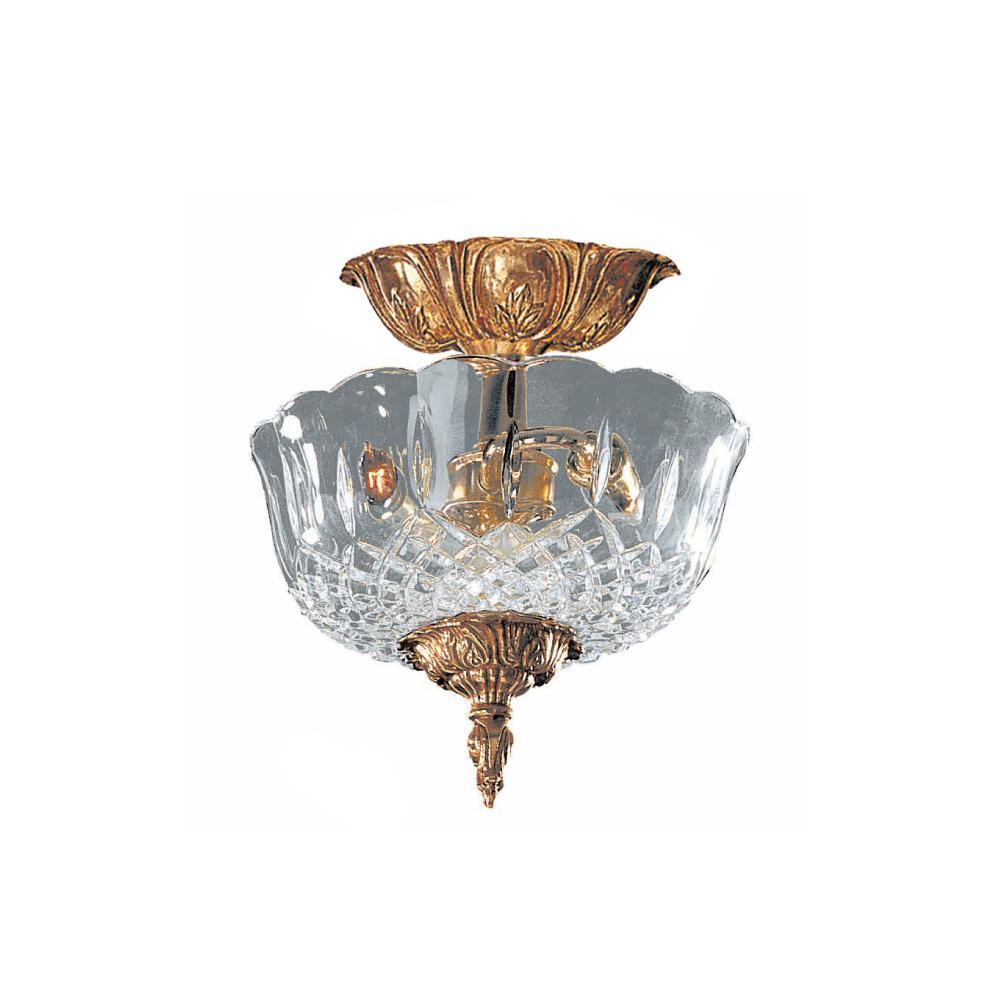 Crystorama 2-Light Olde Brass Semi-Flushmount by Crystorama