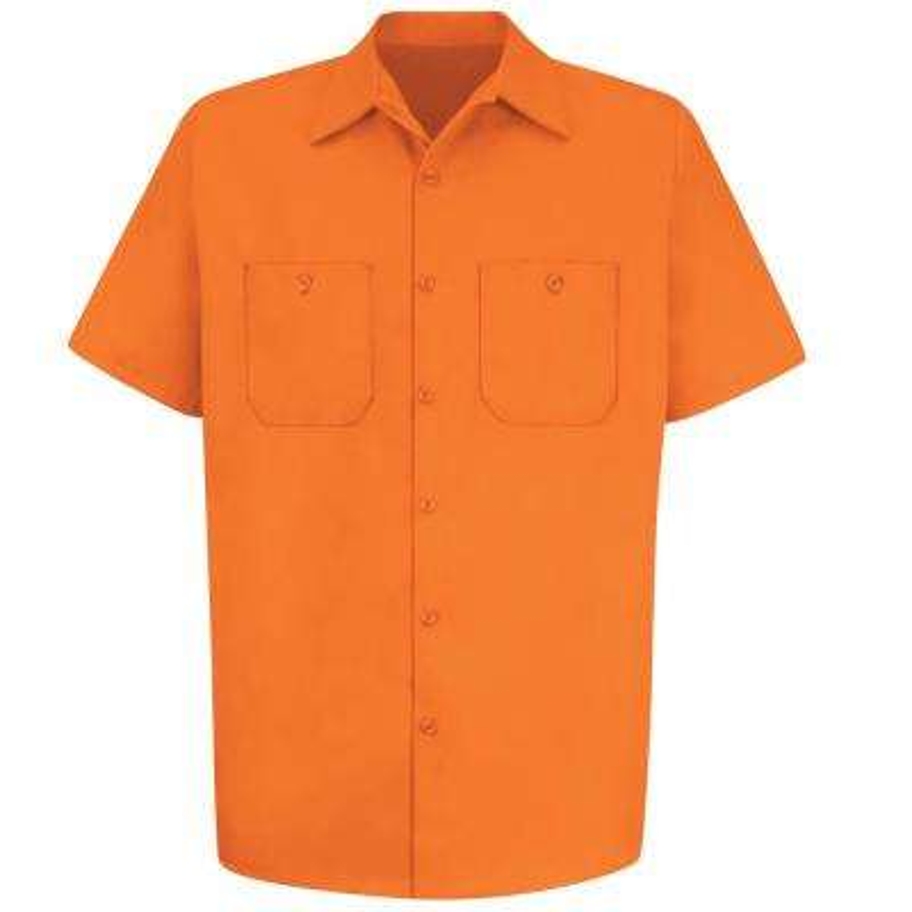 Men's Size 3XL Orange Wrinkle-Resistant Cotton Work Shirt