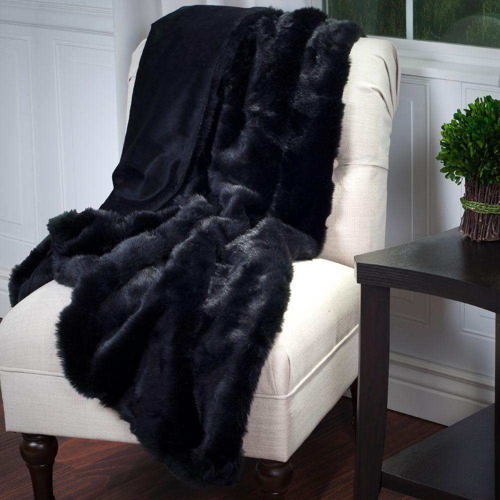 Lavish Home Black Luxury Long Haired Faux Fur Throw-18-18-BL - The ...