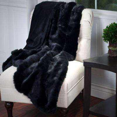 Black Luxury Long Haired Faux Fur Throw
