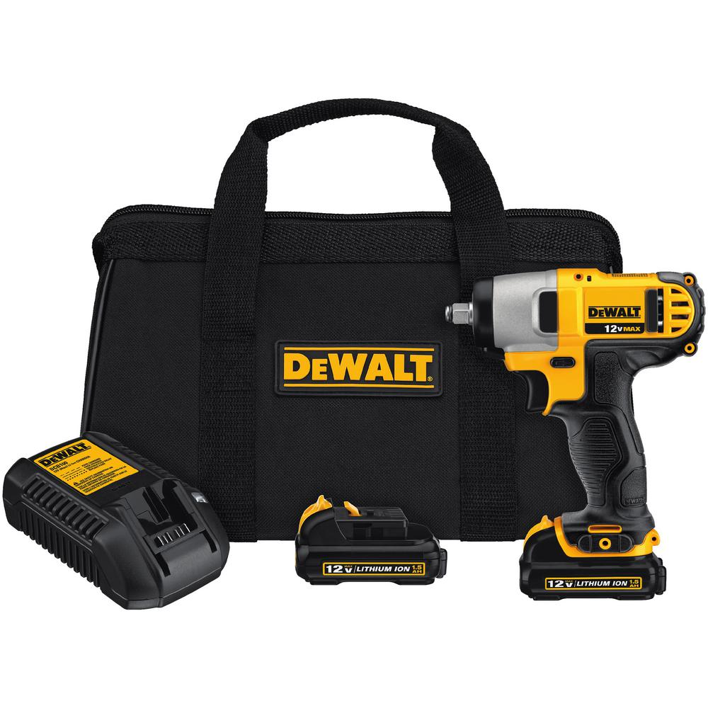 DEWALT 12-Volt MAX Lithium-Ion Cordless 3/8 in. Impact Wrench Kit with (2) Batteries 1.5Ah, Charger and Contractor Bag