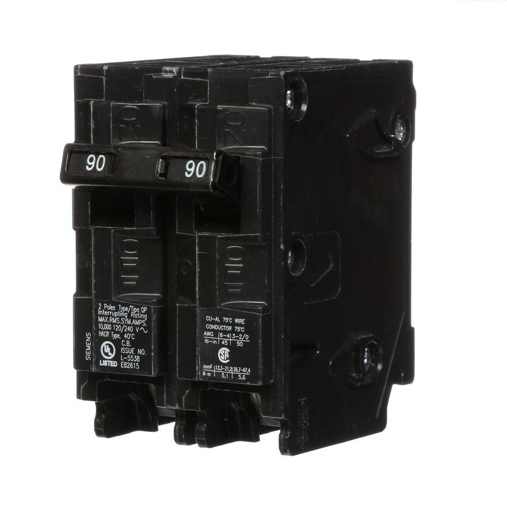 siemens 90 amp double pole type qp circuit breaker q290. Black Bedroom Furniture Sets. Home Design Ideas