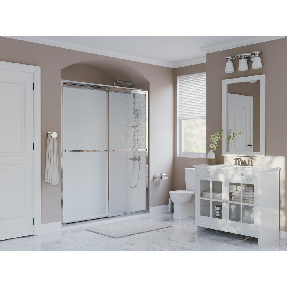 Coastal Shower Doors Paragon Series 56 In X 66 Framed Sliding Door With Towel Bar Chrome And Obscure Gl