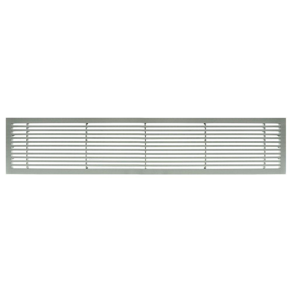 Architectural Grille AG20 Series 6 in. x 48 in. Solid Aluminum Fixed Bar Supply/Return Air Vent Grille, Brushed Satin